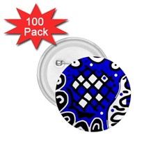 Blue High Art Abstraction 1 75  Buttons (100 Pack)  by Valentinaart