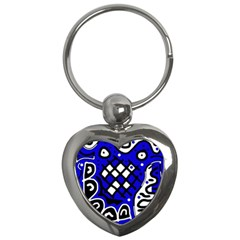 Blue High Art Abstraction Key Chains (heart)  by Valentinaart