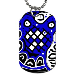 Blue high art abstraction Dog Tag (One Side) by Valentinaart
