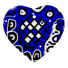 Blue High Art Abstraction Heart Ornament (2 Sides) by Valentinaart