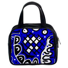 Blue High Art Abstraction Classic Handbags (2 Sides) by Valentinaart