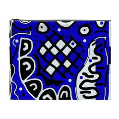 Blue High Art Abstraction Cosmetic Bag (xl) by Valentinaart