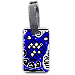Blue High Art Abstraction Luggage Tags (one Side)  by Valentinaart