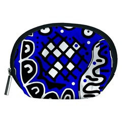 Blue High Art Abstraction Accessory Pouches (medium)  by Valentinaart