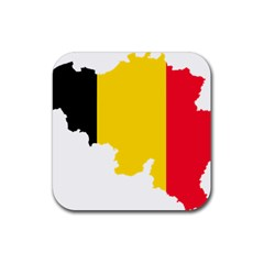 Belgium Flag Map Rubber Coaster (Square)  by abbeyz71