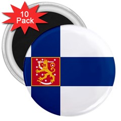 State Flag Of Finland  3  Magnets (10 Pack)  by abbeyz71