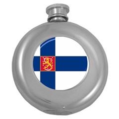 State Flag Of Finland  Round Hip Flask (5 Oz) by abbeyz71