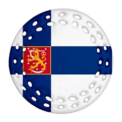 State Flag Of Finland  Round Filigree Ornament (2side) by abbeyz71