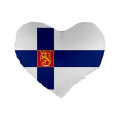 State Flag Of Finland  Standard 16  Premium Flano Heart Shape Cushions by abbeyz71