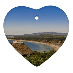Landscape Aerial View Piriapolis Uruguay Heart Ornament (2 Sides) by dflcprints