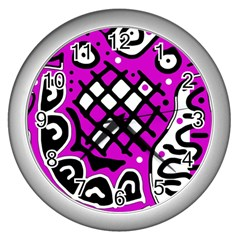 Magenta High Art Abstraction Wall Clocks (silver)  by Valentinaart