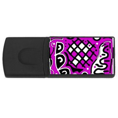 Magenta High Art Abstraction Usb Flash Drive Rectangular (4 Gb)  by Valentinaart