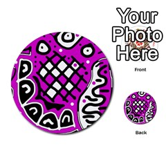 Magenta High Art Abstraction Multi Purpose Cards (round)  by Valentinaart