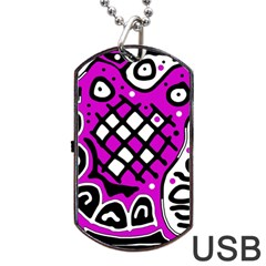 Magenta High Art Abstraction Dog Tag Usb Flash (two Sides)  by Valentinaart
