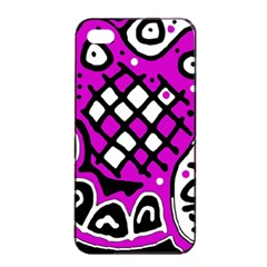 Magenta High Art Abstraction Apple Iphone 4/4s Seamless Case (black) by Valentinaart