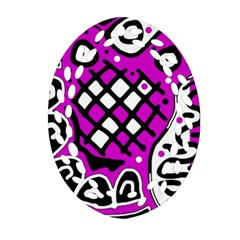Magenta High Art Abstraction Oval Filigree Ornament (2 Side)  by Valentinaart
