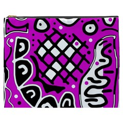Magenta High Art Abstraction Cosmetic Bag (xxxl)  by Valentinaart