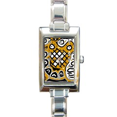 Yellow High Art Abstraction Rectangle Italian Charm Watch by Valentinaart