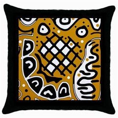 Yellow High Art Abstraction Throw Pillow Case (black) by Valentinaart
