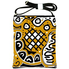Yellow High Art Abstraction Shoulder Sling Bags by Valentinaart