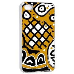 Yellow High Art Abstraction Apple Iphone 4/4s Seamless Case (white) by Valentinaart