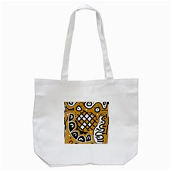 Yellow High Art Abstraction Tote Bag (white) by Valentinaart