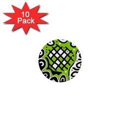 Green High Art Abstraction 1  Mini Buttons (10 Pack)  by Valentinaart