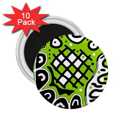 Green High Art Abstraction 2 25  Magnets (10 Pack)  by Valentinaart