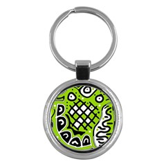 Green High Art Abstraction Key Chains (round)  by Valentinaart
