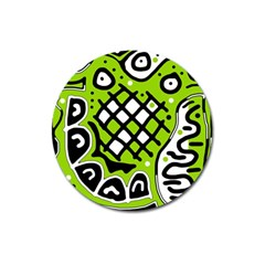Green High Art Abstraction Magnet 3  (round)