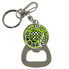 Green High Art Abstraction Bottle Opener Key Chains by Valentinaart