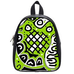 Green High Art Abstraction School Bags (small)  by Valentinaart
