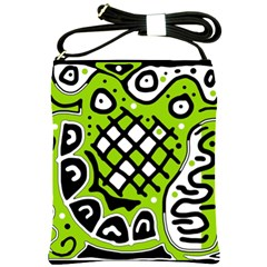 Green High Art Abstraction Shoulder Sling Bags by Valentinaart