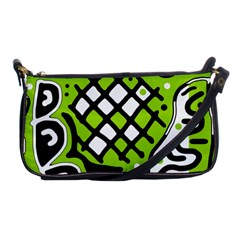 Green High Art Abstraction Shoulder Clutch Bags by Valentinaart
