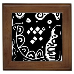 Black And White High Art Abstraction Framed Tiles by Valentinaart