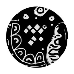 Black And White High Art Abstraction Ornament (round)  by Valentinaart