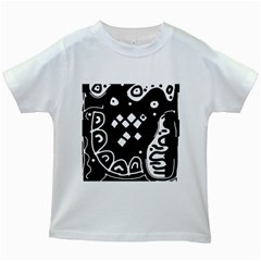 Black And White High Art Abstraction Kids White T Shirts by Valentinaart