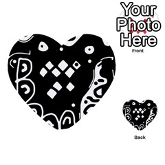 Black And White High Art Abstraction Multi Purpose Cards (heart)  by Valentinaart