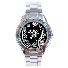 Black And White High Art Abstraction Stainless Steel Analogue Watch by Valentinaart