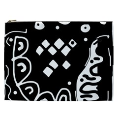 Black And White High Art Abstraction Cosmetic Bag (xxl)  by Valentinaart