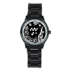 Black And White High Art Abstraction Stainless Steel Round Watch by Valentinaart