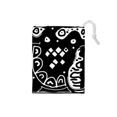 Black And White High Art Abstraction Drawstring Pouches (small)  by Valentinaart