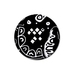Black And White High Art Abstraction Rubber Round Coaster (4 Pack)  by Valentinaart