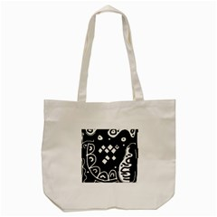 Black And White High Art Abstraction Tote Bag (cream) by Valentinaart