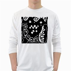Black And White High Art Abstraction White Long Sleeve T Shirts by Valentinaart