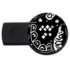 Black And White High Art Abstraction Usb Flash Drive Round (4 Gb)  by Valentinaart