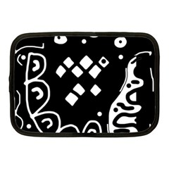 Black And White High Art Abstraction Netbook Case (medium)  by Valentinaart
