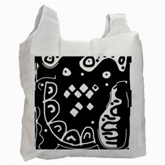 Black And White High Art Abstraction Recycle Bag (two Side)  by Valentinaart