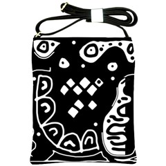 Black And White High Art Abstraction Shoulder Sling Bags by Valentinaart