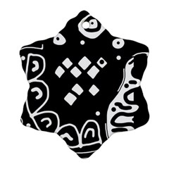 Black And White High Art Abstraction Snowflake Ornament (2 Side) by Valentinaart